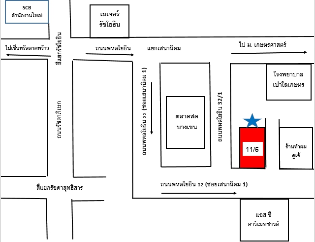 ห้องว่างให้เช่า พหลโยธิน 32 ใกล้ทางเข้าตลาดสดบางเขน โรงพยาบาลเมโย เมเจอร์รัชโยธิน
