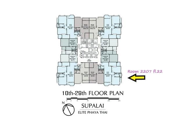 ขาย 2 ห้องนอน 94 ตรม. วิวสูง Supalai Elite พญาไท เจ้าของขายเอง