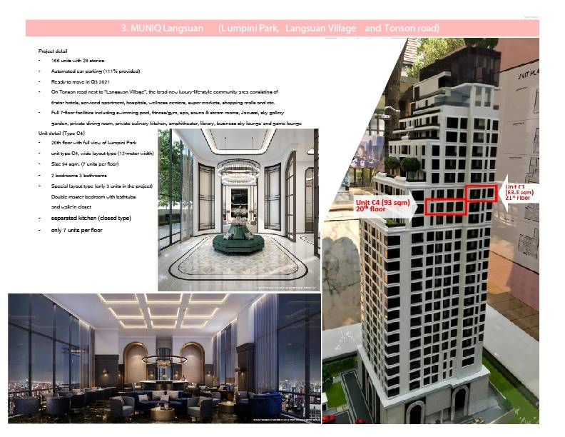 ขาย คอนโด MUNIQ Langsuan 2 ห้องนอน 3 ห้องน้ำ ขนาดห้อง 83.5 ตารางเมตรห้องมุม ชั้น 21 วิวสวน