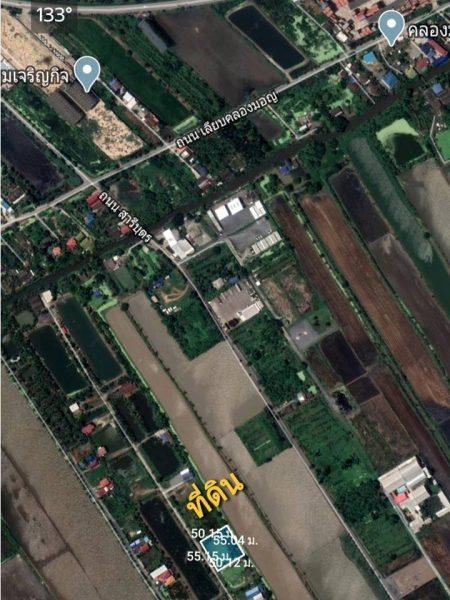 ขายที่ดิน 1 ไร่ ใกล้มหาวิทยาลัยกรุงเทพสุวรรณภูมิ ถนนประชาพัฒนา เขตลาดกระบัง