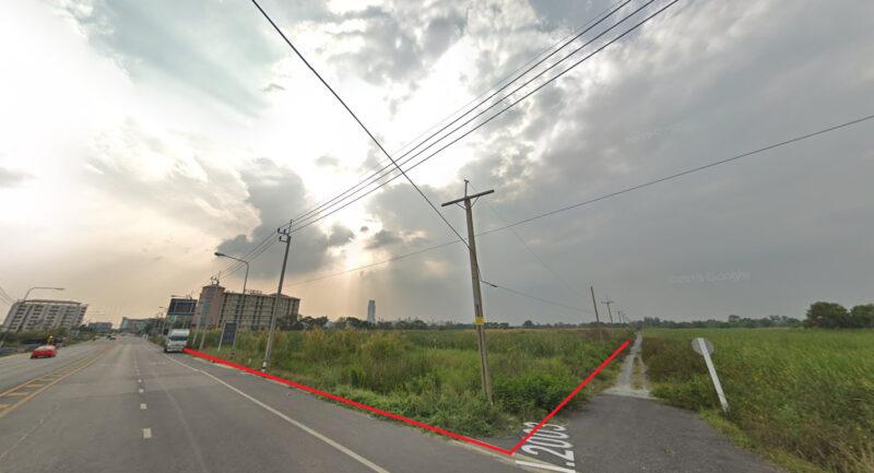 ขายที่ดินเปล่า ใกล้ทางเข้าเอแบคบางนา   ซ.นวมินทราชินูทิศ 9 ติดถนนใหญ่ หัวมุม เนื่อที่  5 ไร่ 87 ตร.วา