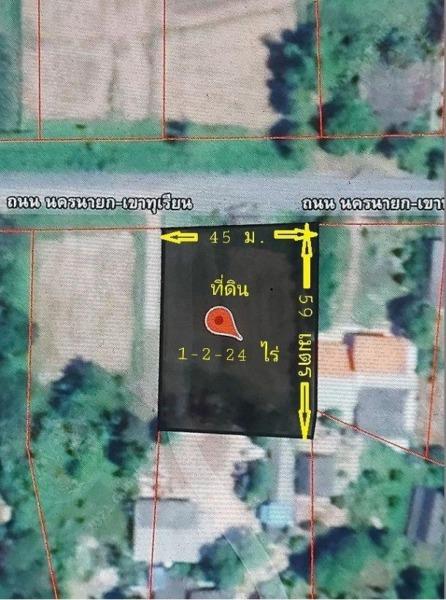 ขายที่ดินแปลงสวย 1-2-24 ไร่ ติดถนนหน้ากว้าง 44 ลึก 59 เมตร ถนนรพช.(นครนายก-บางทุเรียน)ใกล้อ่างเก็บน้ำหนองปรือและอ่างเก็บน้ำคลองโบด ใกล้เขาใหญ่ สถานีขนส่งผู้โดยสาร(ใหม่) จังหวัดนครนายก ตำบลเขาพระ อำเภอเมืองนครนายก จังหวัดนครนายก